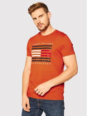 TOMMY HILFIGER TOMMY HILFIGER T-Shirt Corp Flag Lines MW0MW15334 Oranžová Regular Fit