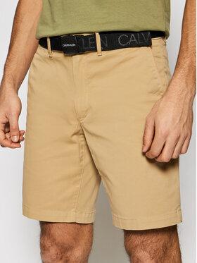 Calvin Klein Calvin Klein Šortky z materiálu Garment Dye Belted K10K107164 Hnědá Slim Fit