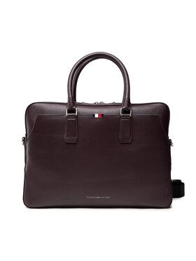 Tommy Hilfiger Tommy Hilfiger Geantă pentru laptop Business Leather Slim Comp Bag AM0AM07551 Vișiniu