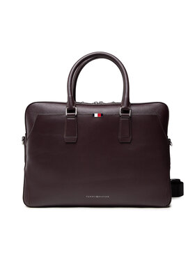 Tommy Hilfiger Tommy Hilfiger Taška na laptop Business Leather Slim Comp Bag AM0AM07551 Bordová