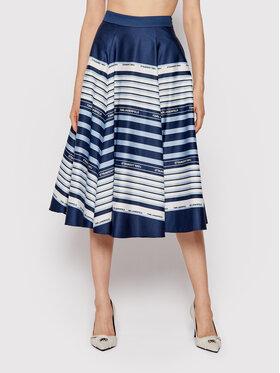 KARL LAGERFELD KARL LAGERFELD Trapézová sukně Printed Umbrella Stripe 215W1201 Tmavomodrá Regular Fit