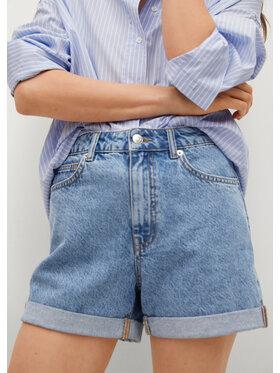Mango Mango Szorty jeansowe Mom80 17070106 Niebieski Mom Fit