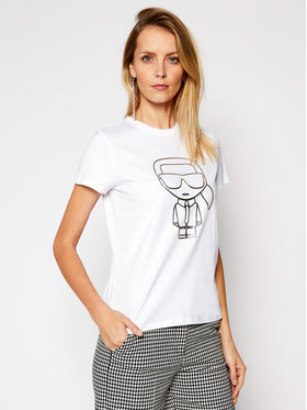 KARL LAGERFELD KARL LAGERFELD Marškinėliai Ikonic Outline 210W1703 Balta Regular Fit