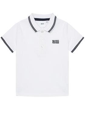 Boss Boss Тениска с яка и копчета J25P12 M Бял Regular Fit