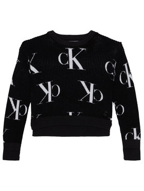 Calvin Klein Jeans Calvin Klein Jeans Пуловер Oco Aop IG0IG00679 Черен Regular Fit