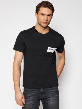 Calvin Klein Calvin Klein Tričko Bold Stripe Pocket K10K106531 Čierna Regular Fit