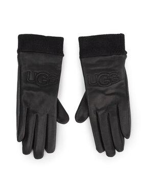 Ugg Ugg Dámské rukavice W Knit Cuff Lthr Logo Glove 18810 Černá
